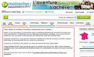 La home page du site 2xmoinscher.com annonce la fin d'une aventure longue de 11 ans