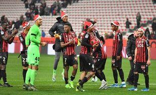 Les Niçois fêtent leur victoire contre Toulouse, le 21 décembre 2019.