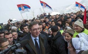 Visite du Premier ministre serbe Aleksandar Vucic à la communauté serbe du Kosovo, le 14 janvier 2015 à Gracania