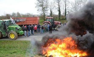 Des agriculteurs manifestent le 21 janvier 2016, près de Plestan (Côtes-d'Armor) pour protester contre la baisse des prix de la viande
