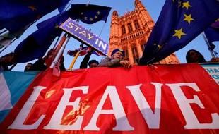 Des manifestants devant le Parlement britannique, le 22 octobre 2019 à Londres.