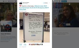 """Les """"pensées du jour"""" des stations du métro londonien appellent à ne pas céder face au terrorisme."""