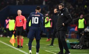 Thierry Laurey et Neymar, au Parc des Prince, le 23 janvier 2019.