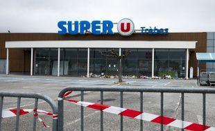 Le super U de Trèbes, où a eu lieu l'attaque terroriste le 23 mars 2017.