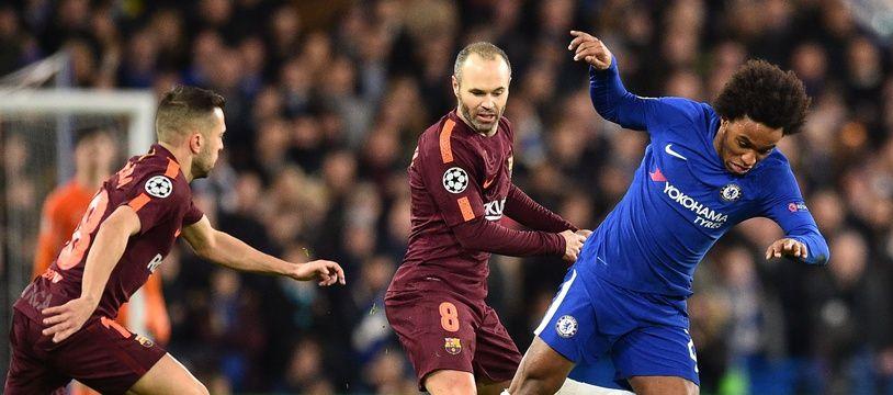 Willian, lors de Chelsea-Barça, le 20 février 2018.