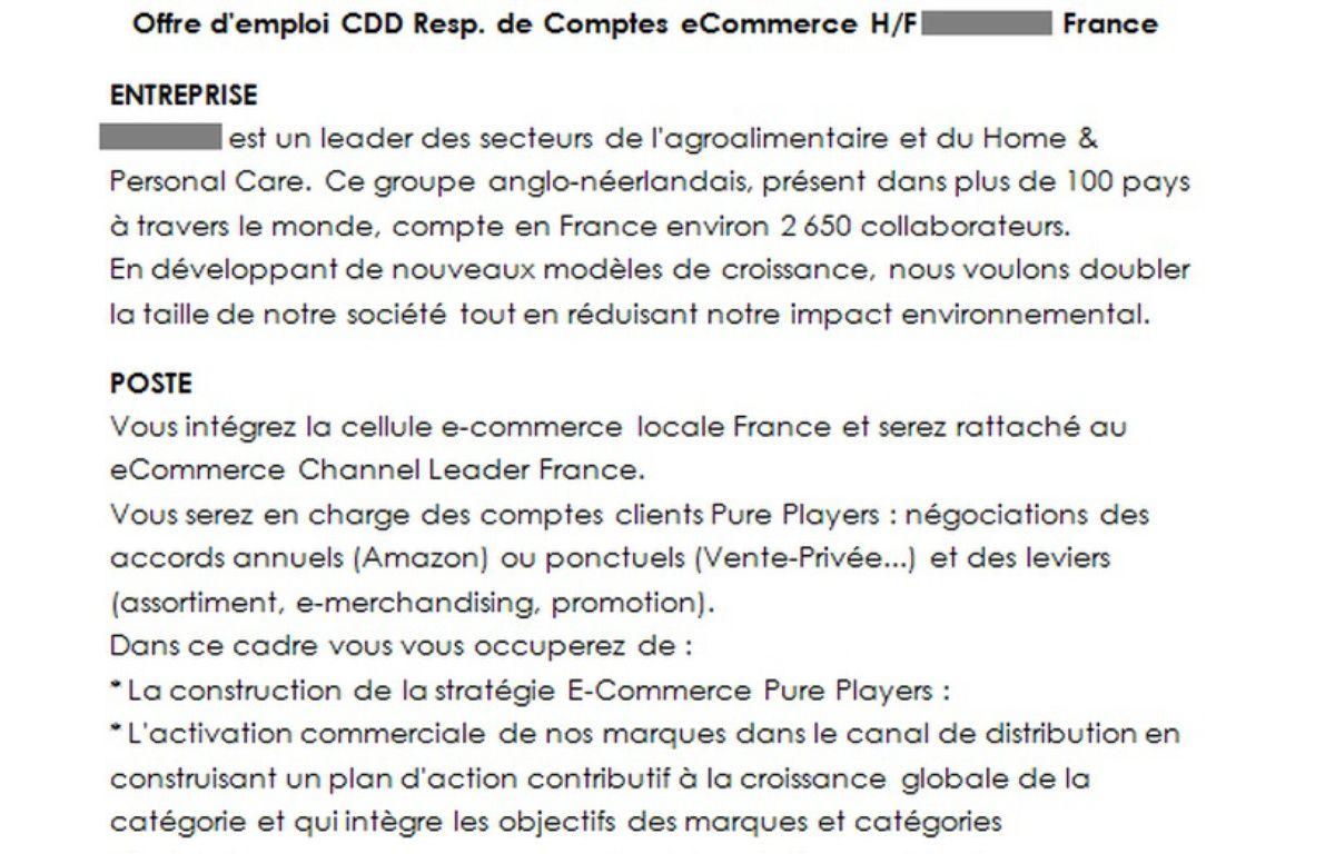 Extrait de l'annonce examiné par Gilles Payet – cadremploi.fr