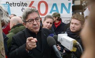 Jean-Luc Mélenchon lors d'une mobilisation contre la réforme des retraites, à Paris, le 11 janvier 2019.