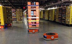 Les robots Kiva utilisés par Amazon pour les fêtes de fin d'année.