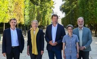 Voici les cinq candidats à la primaire écologiste Eric Piolle,Delphine Batho,Yannick Jadot,Sandrine Rousseau,Jean Marc Governatori.