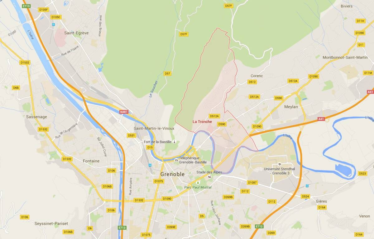 La commune de La Tronche dans le département de l'Isère. – Google Maps