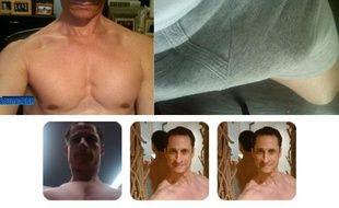 Montage de captures d'écrans de photos attribuées au représentant Anthony Weiner par les médias américains.