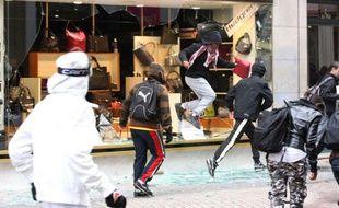 Plusieurs magasins ont été pillés à Lyon, dont celui pris en photo, rue Victor-Hugo (2e) le 19 octobre lors de la mobilisation contre la réforme des retraites.