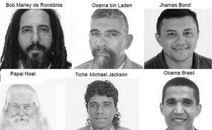 Montage photo de six candidats farfelus des élections générales brésiliennes d'octobre 2014.