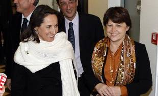 Ségolène Royal et Martine Aubry au siège du PS, le 26 novembre 2008