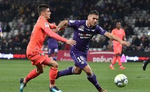 L'attaquant du TFC Andy Delort contre Caen au Stadium de Toulouse, le 9 décembre 2017.