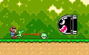Un écran du jeu vidéo « Super Mario World »