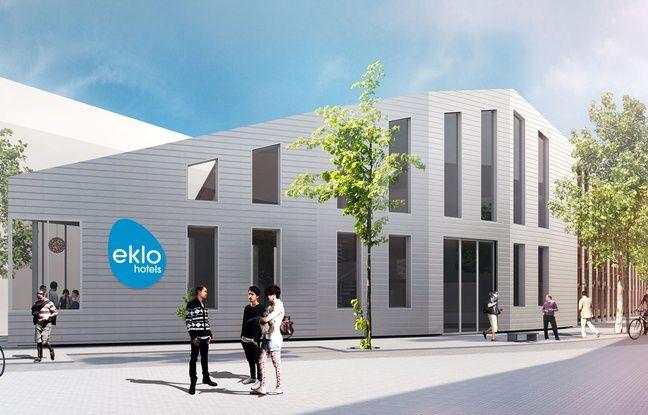 Image de synthèse du projet d'Eklo Hôtel dans le quartier Bastide-Niel à Bordeaux