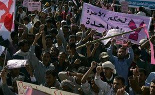 Des Yéménites manifestent contre le gouvernement, à Sanaa, le 3 février 2011.