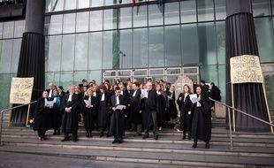 Manifestation des avocats, magistrats et greffiers de Melun, le 30 mars 2018.