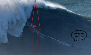 Justine Dupont a surfé une vague de 20 mètres de haut à Nazaré au Portugal.