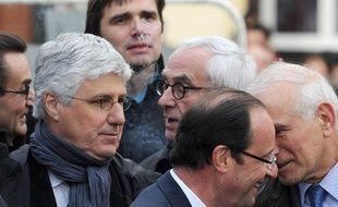 Philippe Martin (à gauche) en compagnie de François Hollande, le 16 avril 2012, à Carmaux (Tarn).