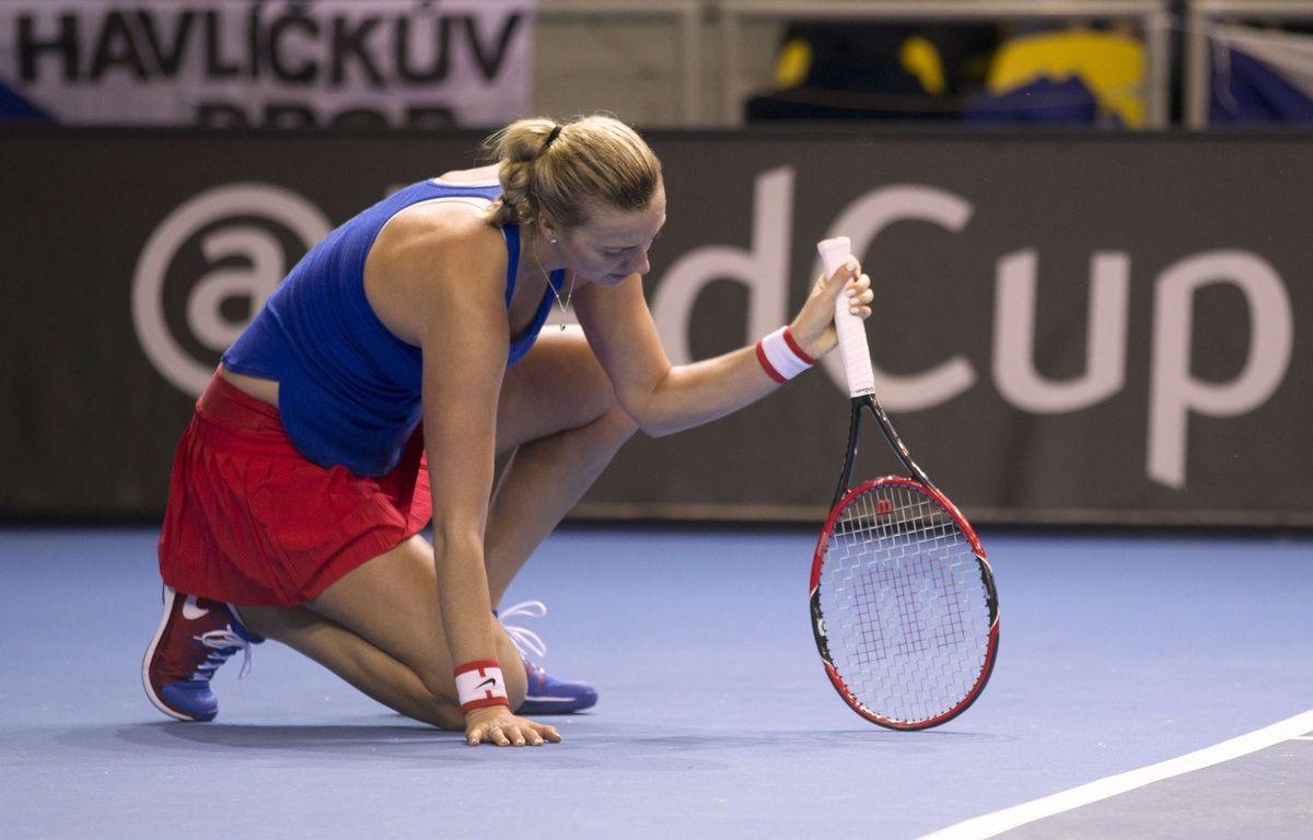 Petra Kvitova lors de la finale de la Fed Cup remportée par la République Tchèque face à la France, le 12 novembre 2016 à Strasbourg.  – Jean-Francois Badias/AP/SIPA