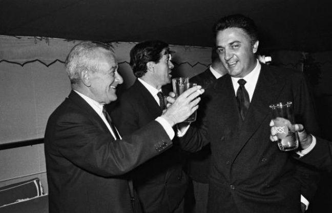 Les réalisateurs WilliamWyler et Frédérico Fellini au festival de  Cannes 1960.Depuis les hommes sont toujours aussi omniprésents dans la  sélection du festival de cinéma.