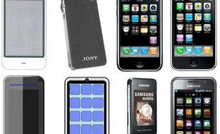 En haut, l'évolution d'Apple: le concept Purple (2005), le prototype «Jony» (2006), l'iPhone (2007) et l'iPhone 3G (2008). En bas, celle de Samsung: les prototypes Slide et IReen (2006), l'Ultra F500 (fin 2006, avant l'iPhone) puis le Galaxy S (2010).