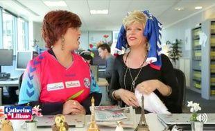 Catherine et Liliane aux couleurs du Racing club de Strasbourg !