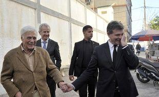 Guy Bedos aux côtés d'Arnaud Montebourg, début décembre.