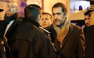 Le ministre de l'Intérieur, Christophe Castaner, à Strasbourg, avec le  directeur départemental de la sécurité publique du Bas-Rhin, Jean-François Illy, et le préfet Jean-Luc Marx, le 13 décembre 2018.