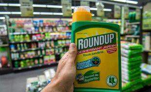 Un bidon de Roundup de Monsanto dans une jardinerie à Lille, le 15 juin 2015
