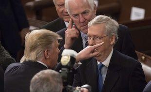 Donald Trump et le chef de la majorité républicaine au Sénat, Mitch McConnell, le 28 février 2017.