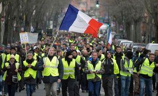"""Manifestation des """"gilets jaunes"""" dans les rues de Toulouse, le 29 décembre 2018."""