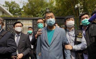 Le magnat des médias Jimmy Lai arrêté par la police  à Hong Kong, le 8 avril 2020.