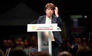 La maire de Lille Martine Aubry au lancement des Universités de l'Engagement du PS à Lomme (Nord), le 17 septembre 2016.