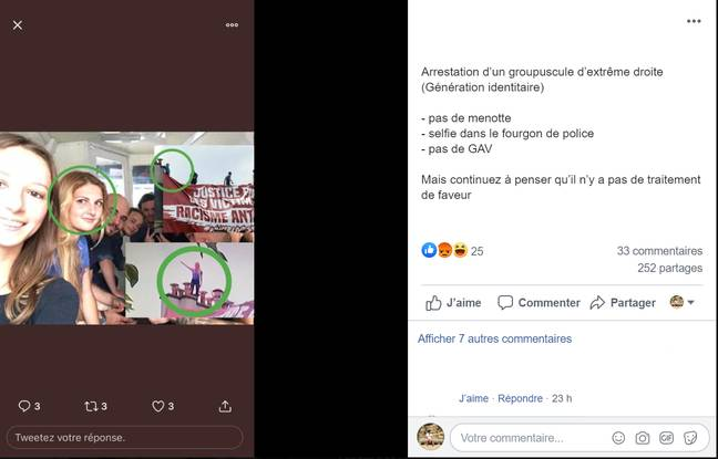 Un utilisateur de Facebook a relayé l'arrestation des militants de Génération Identitaire le 13 juin 2020 à Paris.