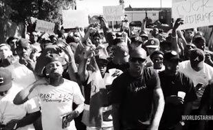 Capture d'écran du clip des rappeurs YG et Nipsey Hussle « Fuck Donald Trump ».
