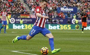 Kévin Gameiro sous la tunique de l'Atlético, contre Valence le 5 mars 2017.