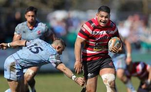 Le talonneur fidjien Sam Matavesi sous les couleurs du club anglais des Cornish Pirates, le 25 mars 2018 face aux London Scottish à Penzance.