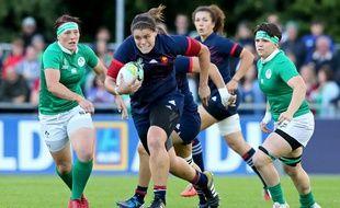 La pilier française  Annaëlle Deshayes lors du match de Coupe du monde de rugby féminin contre l'Irlande, le 17 août 2017 à Dublin.