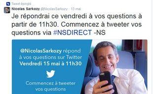 Nicolas Sarkozy a répondu aux utilisateurs de Twitter le 15 mai 2015.