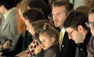 David Beckam et sa filleHarper au défilé de Victoria Beckam dimanche 09 février 2014 à New York