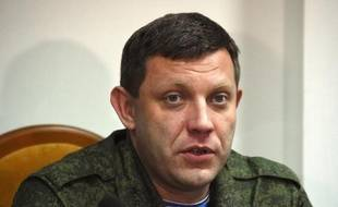 Le dirigeant séparatiste Alexandre Zakhartchenko lors d'une conférence de presse le 2 février 2015 à Donetsk