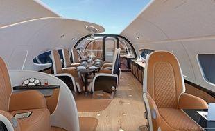 La cabine avec toit panoramique de l'ACJ319, le jet d'Aibus baptisé Infinito.