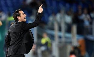 Julien Stéphan, entraîneur du Stade Rennais, ici lors du match de Ligue Europa à Rome face à la Lazio, le 4 octobre 2019.