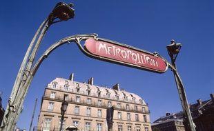 Illustration d'une bouche de métro à Paris.