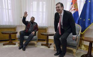 L'acteur américain Steven Seagal lors d'un entretien avec le Premier ministre serbe Aleksandar Vucic, à Belgrade, Serbie, le 1er décembre 2015.