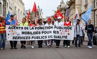Une manifestation de fonctionnaires à Dijon en 2018.