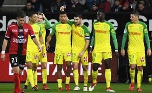 L'attaquant nantais Santy Ngom, lors de son premier but en L1 à Guingamp le 27 janvier.